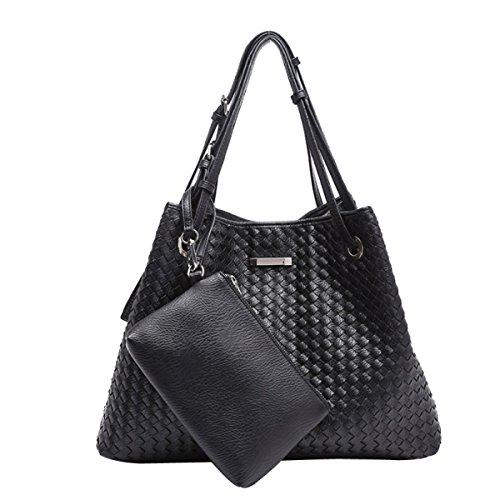 Damen Designer Handtasche SUSEN Womens Fashion Woven Schultertasche,Black-OneSize