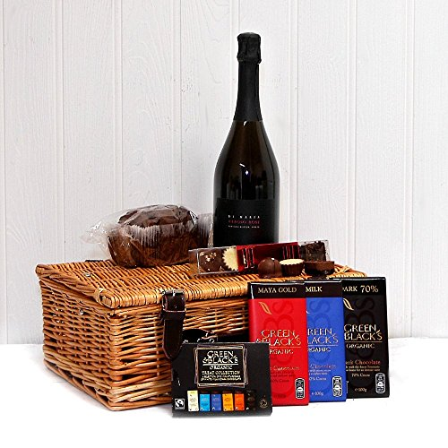 Di Maria Sparklin Rose Wine and Chocolate Lovers Hamper Presented in a Luxury Wicker Basket - Ideas for Birthday, Anniversary and Corporate
