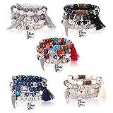 Milacolato 5Sets Bracelets Perles Stretch Bohème pour Femmes Filles Cristal Perlé Brin Bracelet Charme Multicouche Empilable Bracelets