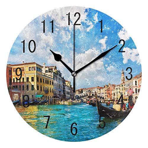 Use7 Home Decor Wanduhr, rund, Acryl, Motiv Brücke Italien, Blauer Himmel, Nicht tickend,...