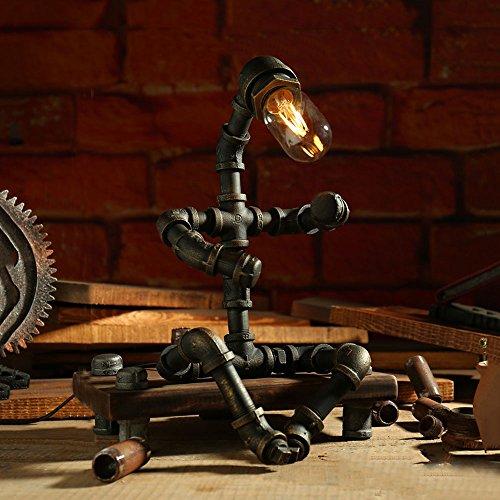 WSHFOR Dimmable Industrial Vintage Schmiedeeisen Wasserpfeifen Tischlampe für Wohnzimmer Schlafzimmer Nachttisch Schreibtisch Lampe / E27 Handgemacht (Color : Dimmer switch)