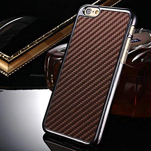 aridox (TM) pour iPhone 66G 11,9cm Téléphone de luxe plaqué en fibre de carbone en cuir PU peau Housse arrière en plastique rigide pour PC Noir cadre