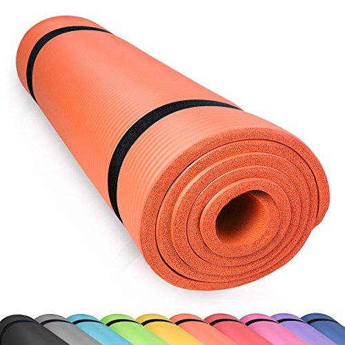 diMio Yogamatte Gymnastikmatte rutschfest mit Tragegurt, phlatatfrei + SGS-geprüft, 185x60x1.5cm Orange