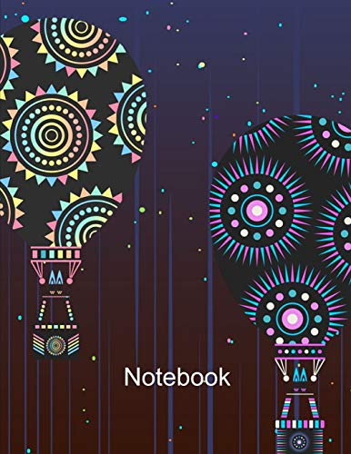 Notebook. Hot Air Balloons Cover Design. Composition Notebook. Wide Ruled. 8.5 x 11. 120 Pages. - Spinner Banner