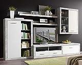 Wohnwand Anbauwand Wohnzimmerschrank 5-tlg. CLAUDINE 7   Dekor   Grau-Weiß   Glas   LED-Beleuchtung