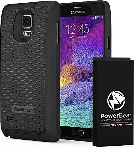 PowerBear Batterie Étendue Samsung Galaxy Note 4 [7500mAh], Couvercle Arrière et Boîtier de Protection (2.3X de Puissance de Batterie Supplémentaire) [24 Mois Garantie et Protecteur d'Écran Inclus]
