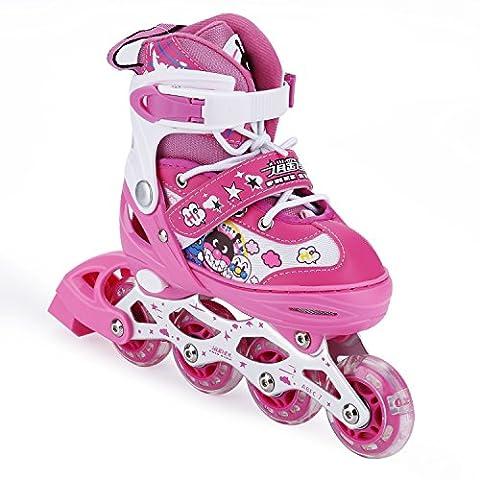 Patins En Ligne pour Enfants/Adolescents Taille Réglable Rouleau Luminous Rollers Ajustable (Rose)
