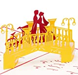 """Tarjeta de boda """"Amantes en el puente"""", tarjeta de boda noble, gran formato, 3D Pop up, 20 x 15 cm, hecho a mano, tarjeta de felicitación, tarjeta, amor, amor, pareja de novios"""
