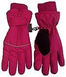 NICE CAPS Jungen Mädchen Reißverschluss Easy-On Reflektor Kinder Fäustlinge Wasserdicht Thinsulate für Kaltem Wetter (8-10 Jahre, Fuchsie)