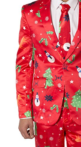 Hommes Maigre Fixer Fantaisie Noël Costume Rouge