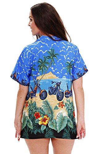 Original King Kameha | Funky Hawaiibluse Hawaiihemd | Damen | XS - 6XL | Kurzarm | Front-Tasche | Hawaii-Print | Motorrad Bike Strand | Blau Blau