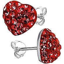 925 Sterlingsilber Ohrstecker Ohrringe Ohrklemme Herz Rot Silber Geschenk Damen