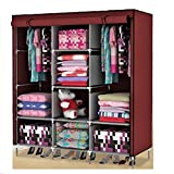 #10: House of Wax Portable Wardrobe Rack Cabinet Collapsible Clothes Storage Rack DIY Maroon Colour