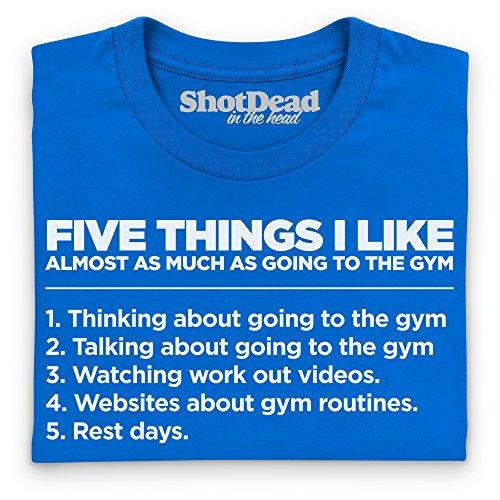 Five Things I Like - The Gym T-Shirt Funny Novelty Gift, Herren Royalblau