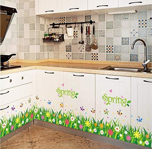 Xzfddn Kindergarten Korridor Gang Sockellinie Fuß Linie Schiebetür Wand Klebrige Gras Schmetterling Wandaufkleber Fensterglas Aufkleber