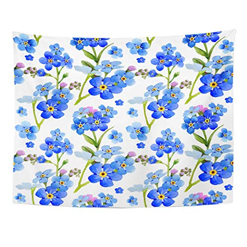 "AOCCK Wandteppiche Wall Hanging Wildflower Myosotis Arvensis Flower in Watercolor Full Name of The Plant 60""x 80"" Home Decor Art Tapestries for Bedroom Living Room Dorm Apartment"