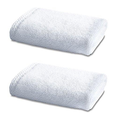 Linge de Bain en Bambou - Double Pack - 2 x Superbes Bambou Petits Carrés de Toilette - 800g/m² - Blanc Alpin - 30cm x 30cm
