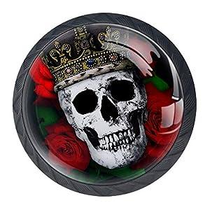 EZIOLY Möbelknöpfe, Totenschädel, König und Blumen, 4 Stück