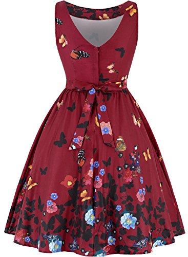 MERRYA Sans Manche Imprimée Robe de Soirée Été Cocktail Fête Vintage Femme Rot&Butterfly