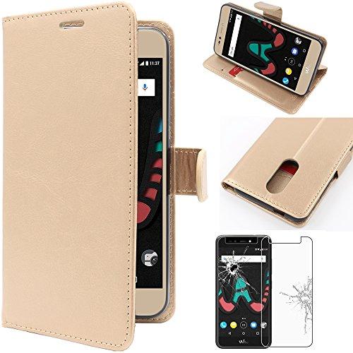 Ebeststar - cover wiko upulse custodia portafoglio pelle pu protezione libro flip, dorato + pellicola vetro temperato [apparecchio: 153.5 x 77.5 x 8.5mm, 5.5'']