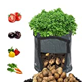 Decdeal Potato Grow Bag with Handles Fabric Pouch 7 Gallon PE Grow Bag for Growing Tomato Vegetable Gardening Accessory