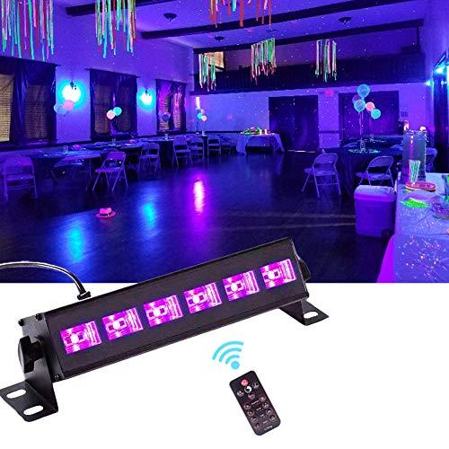 U`King Schwarzlicht 6 LED X 3W UV LED Beleuchtung Strahler Partylicht mit Fernbedienung für Bar DJ Disco Licht Club Party