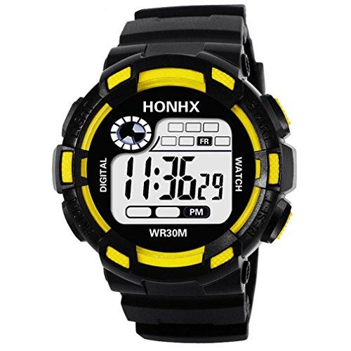 Yanhoo Luxus Männer Analog Digital Military Army Sport LED 30M Wasserdichter Armbanduhr Outdoor Sportuhr Militärische Uhren Smartwatches (Gelb) (Rose Gold Luxus-uhr Genf)