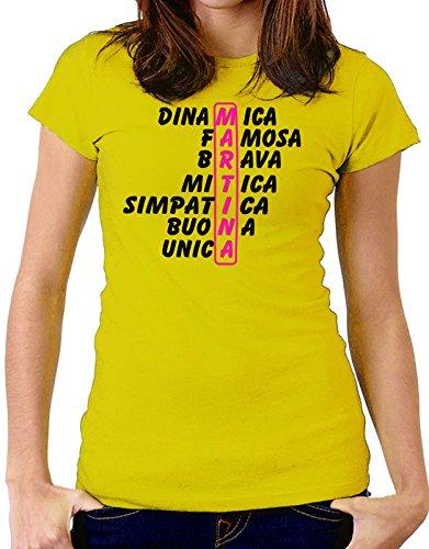 Tshirt Tshirt con nome Martina e aggettivi simpatici - idea regalo - Tutte le taglie Giallo