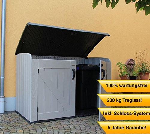 Lifetime-XXL-Kunststoff-Mlltonnenbox-Gertebox-Aufbewahrungsbox-BxTxH-190x108x132cm-Gartengertebox-fr-Mlltonnen