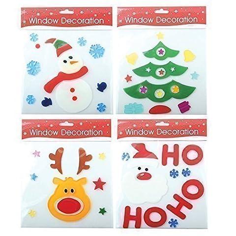 Lot de 4 Décorations Noël pour Vitre en Gel Père Noël Rennes et Bonhomme de Neige
