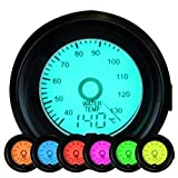 Auto Wassertemperatur, 7-Farben LED Wasser Temp Temperatur Meter Celsius Gauge mit 12V Power Hintergrundbeleuchtung 40-140 Celsius 52mm / 2