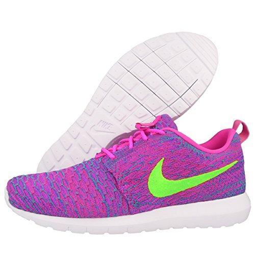 Nike - Flyknit Rosherun, Sneaker basse Uomo - Pink (Pink Flash/Flash Lime/Clb Pink