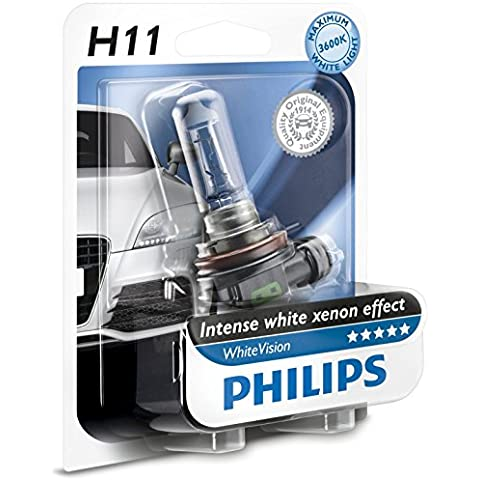 Philips 12362WHVB1 WhiteVision Bombilla para Faros Delanteros de Coches con Efecto Xenón, 4300 K, H11, 12 V, 55 W, Color Blanco