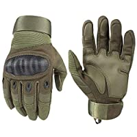 Zerobox Outdoor Joint Protection Gloves,Rubber Hard Knuckle Full Finger Touch Screen Gloves for Men & Women Cycling Motorcycle Hiking Camping Training (Army Green, L)