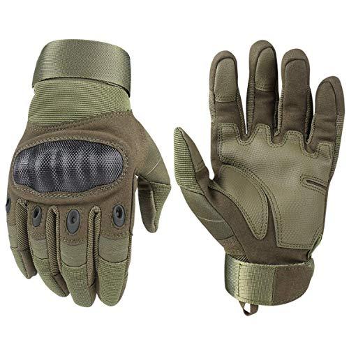 Tactical Handschuhe, Army Military Rubber Hard Knuckle Outdoor Full Finger Touchscreen-Handschuhe für Herren Radfahren Motorrad Jagd Shooting Wandern Camping,Armee-Grün, XL