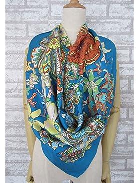 Mujer flor azul profundo de la canción 100% seda twill bufanda cuadrada