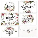 HOSMSUA Cartes de remerciements, Lot de 30 notes florales Cartes de voeux pour mariage, naissance, thank you cards- aquarelle Fleur Cards - Adhésif avec enveloppes et jointses et joints...
