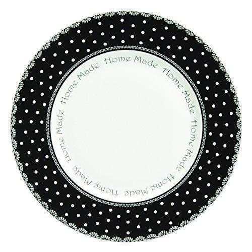 Novastyl - 4060234 - Assiettes Pois - Blanc/Noir - Lot de 6