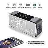 DIKAOU Portable Bedroom Radio Réveil Enceinte Bluetooth Haut-parleur 4.1 Radio FM stéréo intérieur Bedside Wireless AM FM Radio avec de Micro TFT, carte SD, Entrée auxiliaire, Mains libres, compatible avec iPad iPhone Android Téléphones et PC