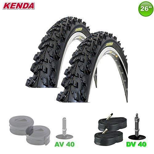 KENDA 2 x MTB Fahrradreifen Decke + 2 Schläuche DV - 26 x 1.95-50-559 (schwarz)