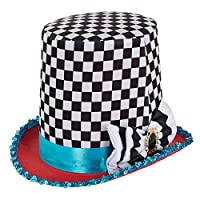 Bristol Novelty BH652 Stovepipe Mad Hatter Chequered Hat, Unisex-Adult, Multi-Colour, One Size