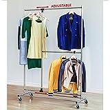 Tatkraft Marvel Rollbarer Kleiderständer aus Chrom mit extra ausziehbare Kleiderstange 116X49X188H cm