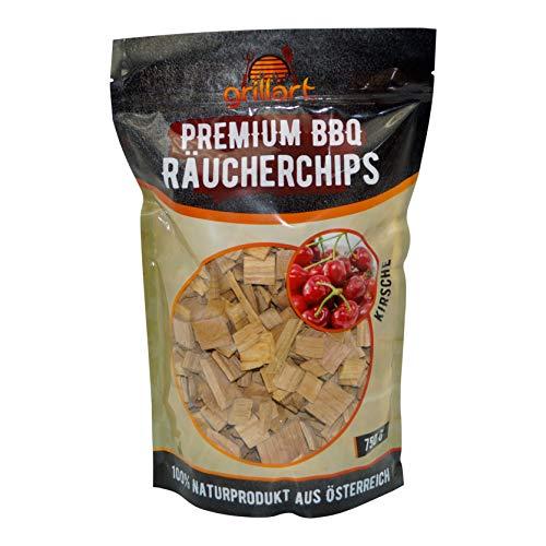 XL Premium Räucherchips Kirsche für EIN besonderes Raucharoma - sehr rauchaktives Räucherholz/Holzhackschnitzel - 100% natürliches Baumholz aus den Alpen für einen einzigartigen Grillgeschmack - 750g -