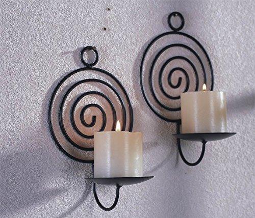 WANDKERZENHALTER Serie | Verschiedene Ausführungen und Formen, Kerzenhalter 2er Set:Kerzenhalter Spirale 301552