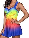 Coolster Neuer Reizvoller Einteiliger Badeanzug-Farben-Badeanzug für Frauen-Badebekleidungs-Weiblicher Badeanzug-Schwimmen-Weinlese Beachwear (Hellblau, 2XL)