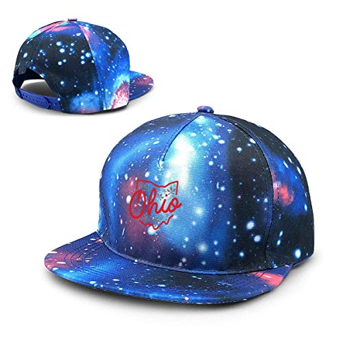 Rogerds Baseball Kappe für Herren/Damen,Sternenhimmel Mütze,Hüte Cute Ohio State Buckeye Design Starry Sky Flat Along Baseball Cap Hip Hop Hats Unisex Teens Hat (Damen Ohio State Hat)