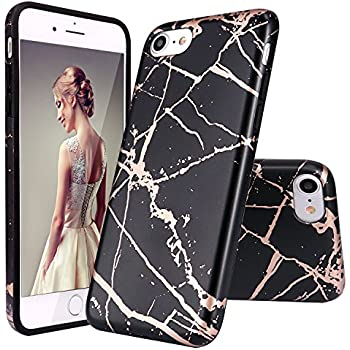 IPhone 7 CaseiPhone 8 CaseDOUJIAZ Shiny Rose Gold Black Marble Design Clear