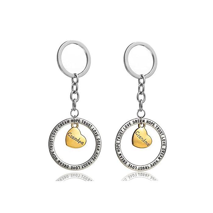 """Schlüsselanhänger-Set für Bruder und Schwester, goldfarbene Herzanhänger in einem Ring mit der Aufschrift """"Trust Love…"""