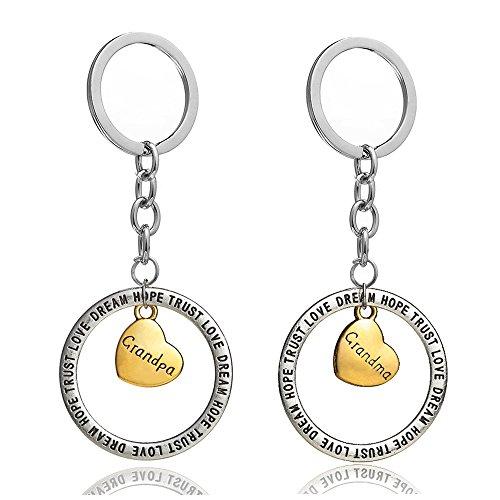 2Opa Oma Familie Geschenk Gold Liebe Herz, rund Trust Love Hope Dream Charm Schlüsselanhänger Ring Set