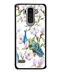 PrintVisa Designer Back Case Cover for LG G4 Stylus :: LG G4 Stylus H630D H631 H540 (Blue Peacock Flowers Scenery Pics)